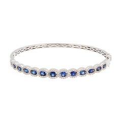 Diamond Blue Sapphire Gold Bracelet
