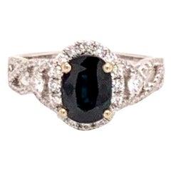 Diamond Blue Sapphire Ring 18 Karat Gold Women 2.59 Carat Certified