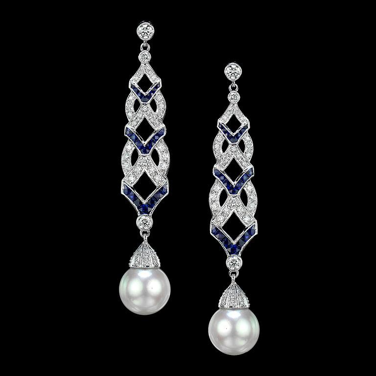 Gorgeous earrings with Diamond, Blue Sapphire, South Sea Pearl in Art Deco Style.   Diamond (G Color VS Clarity, Round, size 1.0-3.0 mm.) total weight is 0.93 carat.  French Cut Blue Sapphire total 42 pieces 2.62 carat. South Sea Pearl (Drop) 2