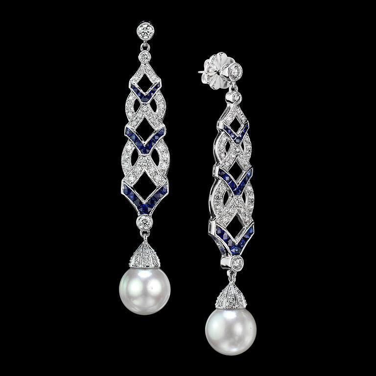 Art Deco Diamond Blue Sapphire South Sea Pearl Earrings For Sale