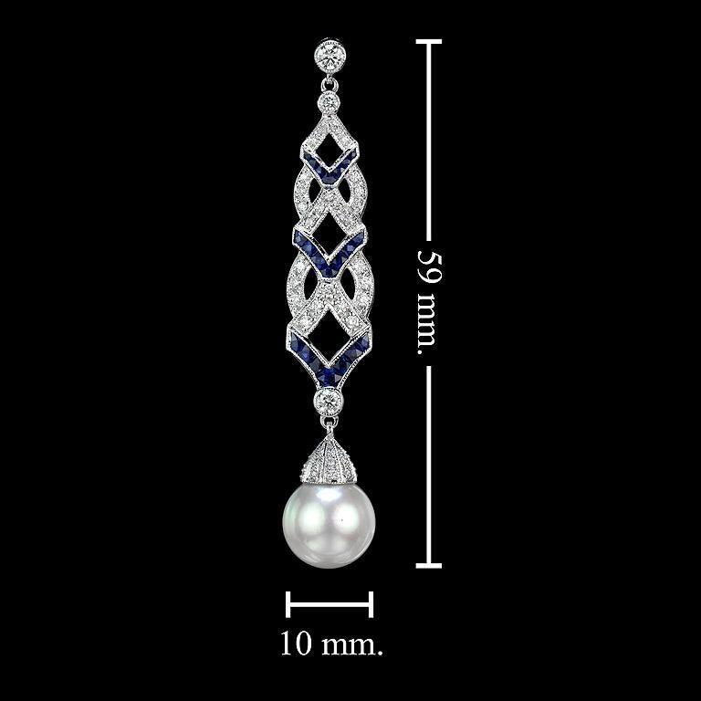 Diamond Blue Sapphire South Sea Pearl Earrings For Sale 2