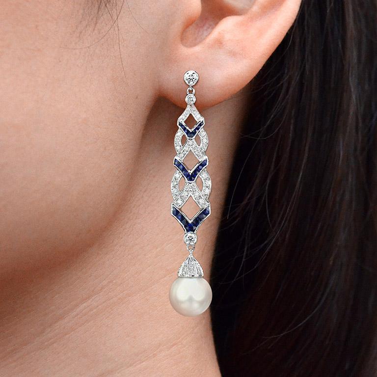 Diamond Blue Sapphire South Sea Pearl Earrings For Sale 3