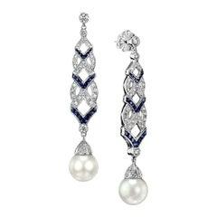 Diamond Blue Sapphire South Sea Pearl Earrings