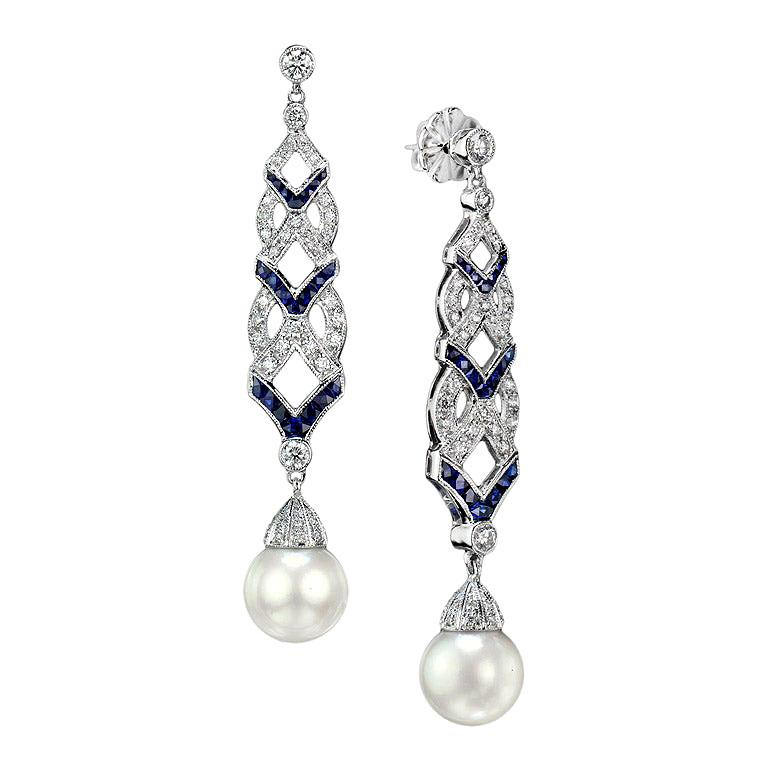 Diamond Blue Sapphire South Sea Pearl Earrings For Sale