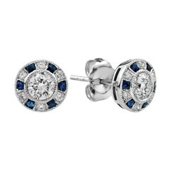5f17266ecb642c Diamond Sapphire Target Stud Earrings at 1stdibs