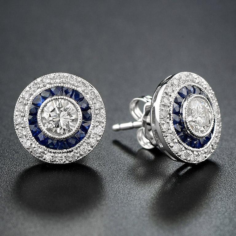 Art Deco Diamond Blue Sapphire Stud Earrings For Sale
