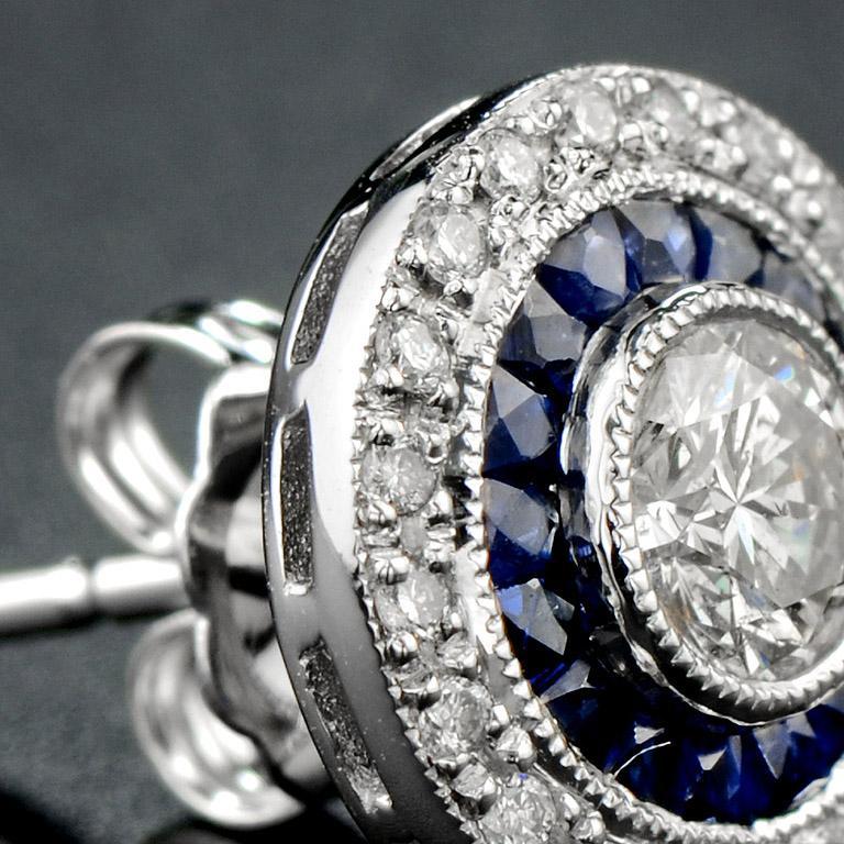 Women's Diamond Blue Sapphire Stud Earrings For Sale