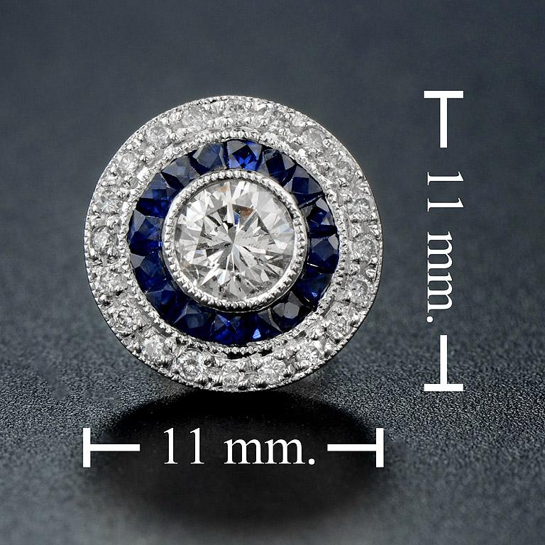 Diamond Blue Sapphire Stud Earrings For Sale 1