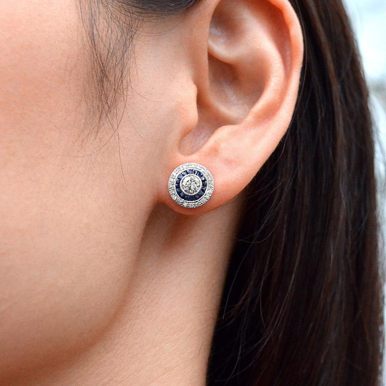 Diamond Blue Sapphire Stud Earrings For Sale 2