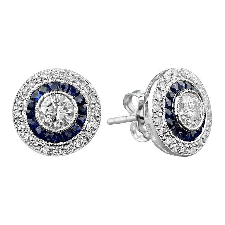 Diamond Blue Sapphire Stud Earrings For Sale