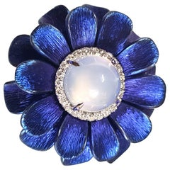 Diamond Blue Titanium 18 KT White Gold Silver Chalcedony Made in Italy Ring