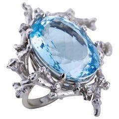 Diamond Blue Topaz 18 Carat White Gold Cocktail Ring