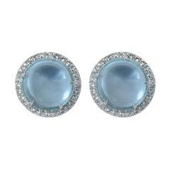 Diamond Blue Topaz 18 Kt White Gold Made in Italy Margherita Burgener Earrings
