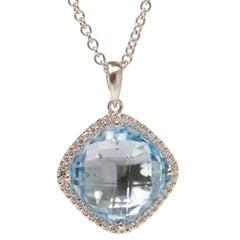 Diamond Blue Topaz White Gold Pendant Necklace