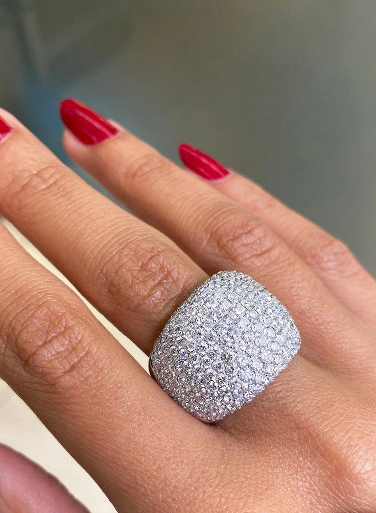Brilliant Cut Diamond Bombé Dome Cluster 18 Carat White Gold Cocktail Ring For Sale