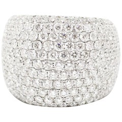Diamond Bombé Dome Cluster 18 Carat White Gold Cocktail Ring