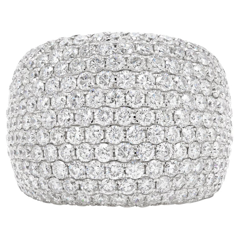 Diamond Bombé Dome Cluster 18 Carat White Gold Cocktail Ring For Sale