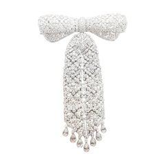Diamond Bow Detachable Tassel Brooch Set in 18 Karat White Gold Settings