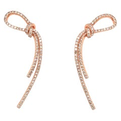 Diamond Bow Drop Earring Rose Gold 1.27 Carat 14 Karat Rose Gold