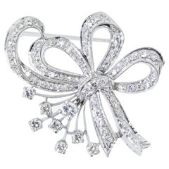Diamond Bow Motif White Gold Vintage Brooch