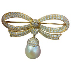 Diamond Bow & Pearl Brooch
