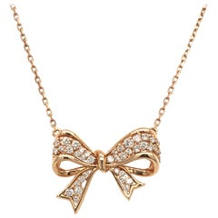 Diamond Bow Pendent Rose Gold with Box