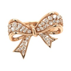 Diamond Bow Ring Rose Gold with Box