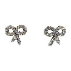 Diamond Bow Stud Earrings in 18 Karat White Gold