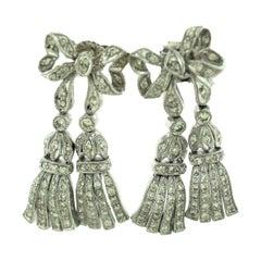 Diamond Bow-Tie Drop Dangle Vintage Earrings in 18 Karat White Gold