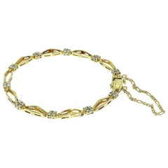 Diamond Box Chain Double Link Yellow Gold Bracelet