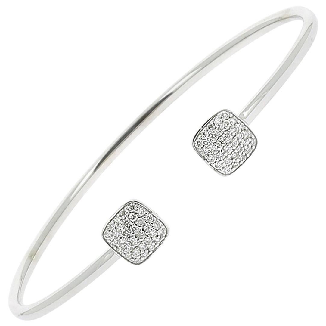 0.36 Carat GVS Round White Diamonds Cuff Bracelet/Bangles Bracelet 18K White Gol