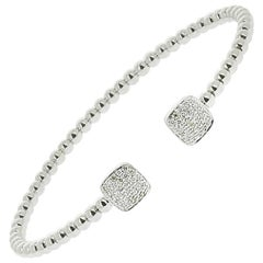 0.92 Carat White Diamond Cuff Bracelet set with 64 Round Diamonds 18K White-Gold