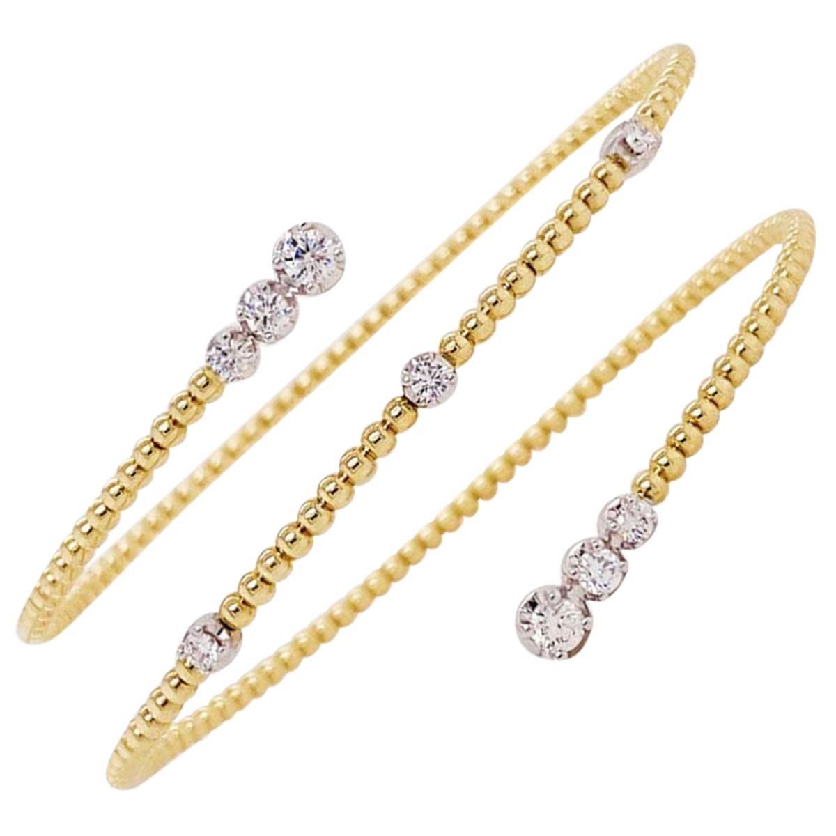 Diamond Bracelet Flexible Fashion Bracelet 14K Yellow Gold Half Carat Diamond