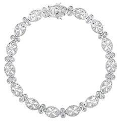 Diamond Bracelet in 14 Karat White Gold, 11 Grams, Estate, Affordable