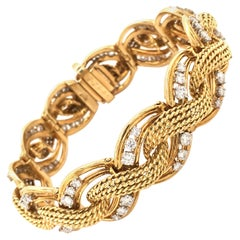 Diamond Bracelet in Yellow and White Gold 750