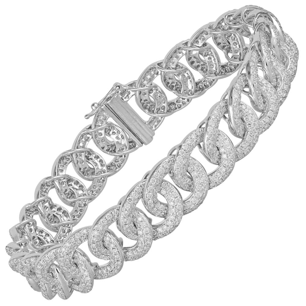 Diamond Bracelet Studded in 18 Karat White Gold