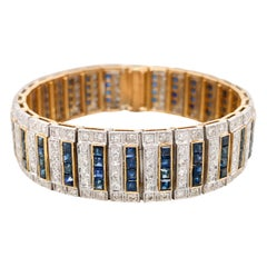 Diamond Bracelet with Alternating Rows of Square Diamond and Sapphire