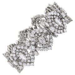 Diamond Bracelet with Round and Marquis Diamonds Totaling 18.60 Carat, 18 Karat