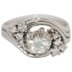 Diamond Bridal Ring with Solitaire 1.05 Carat, Top Wesselton, SI2, 18 Karat Gold