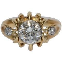 Diamond Bridal Ring with Solitaire 1.5 Carat, Top Wesselton, VS1, 14 Karat Gold
