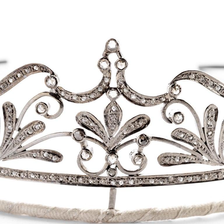 Late Victorian Diamond Bridal Tiara in Silver Handmade