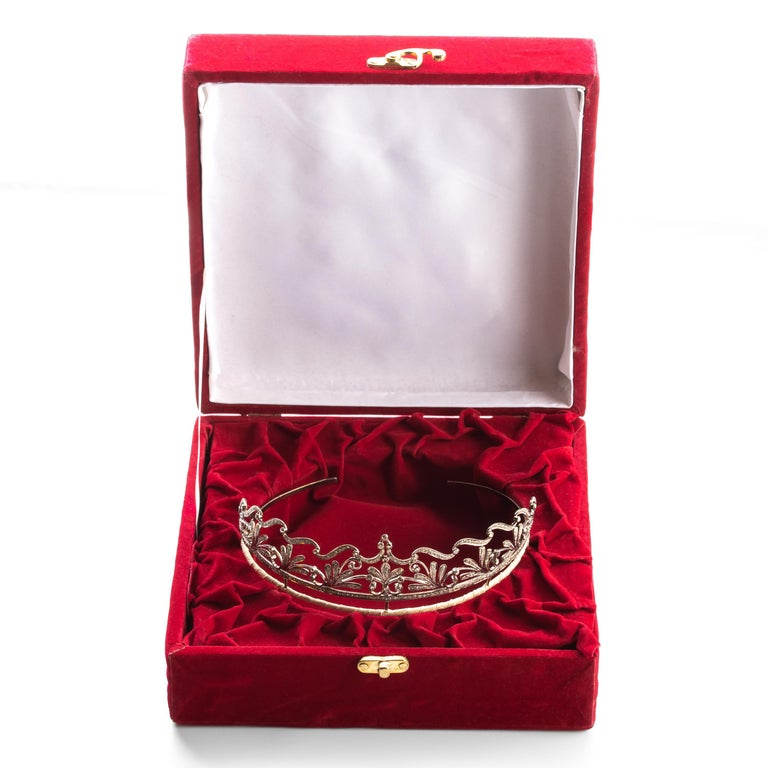 Diamond Bridal Tiara in Silver Handmade In New Condition In Southbury, CT