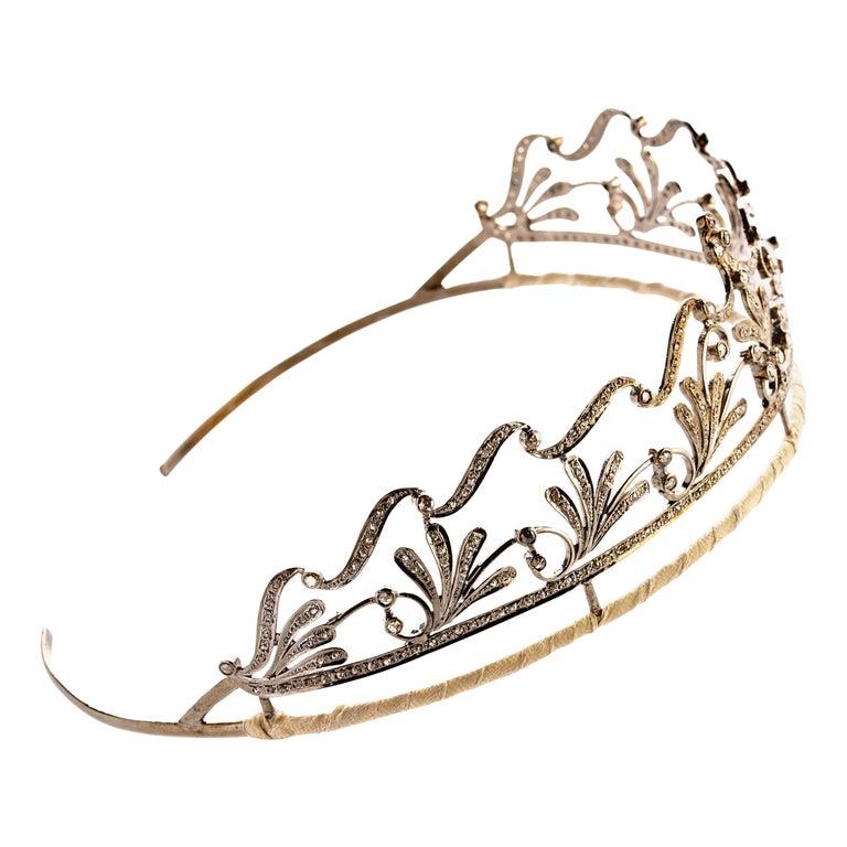 Diamond Bridal Tiara in Silver Handmade