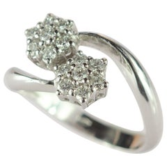 Diamond Brilliant 18 Karat White Gold Bypass Romantic Cluster Spiral Flower Ring