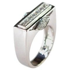Diamond Brilliant Cut 18 Karat White Gold Cluster Italian Geometric Square Ring