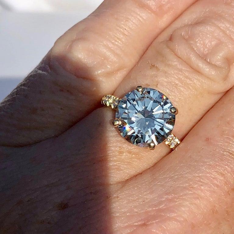 Diamond Brilliant Cut Solitaire Diamond Engagement Ring G.I.A M Colour 4.97ct TW For Sale 4
