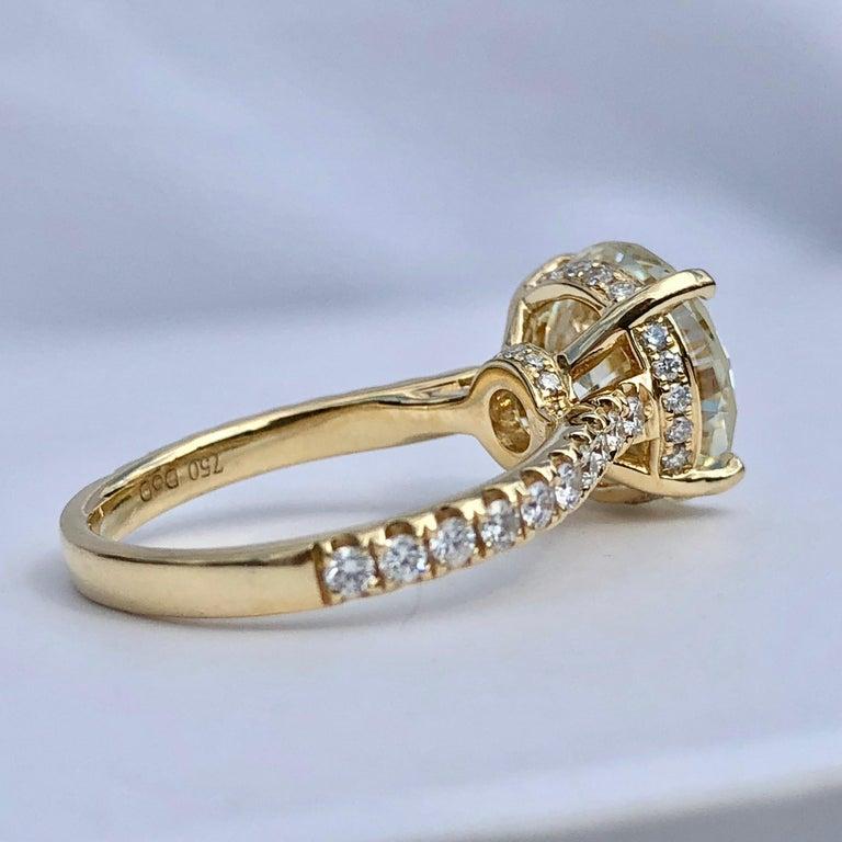 Contemporary Diamond Brilliant Cut Solitaire Diamond Engagement Ring G.I.A M Colour 4.97ct TW For Sale