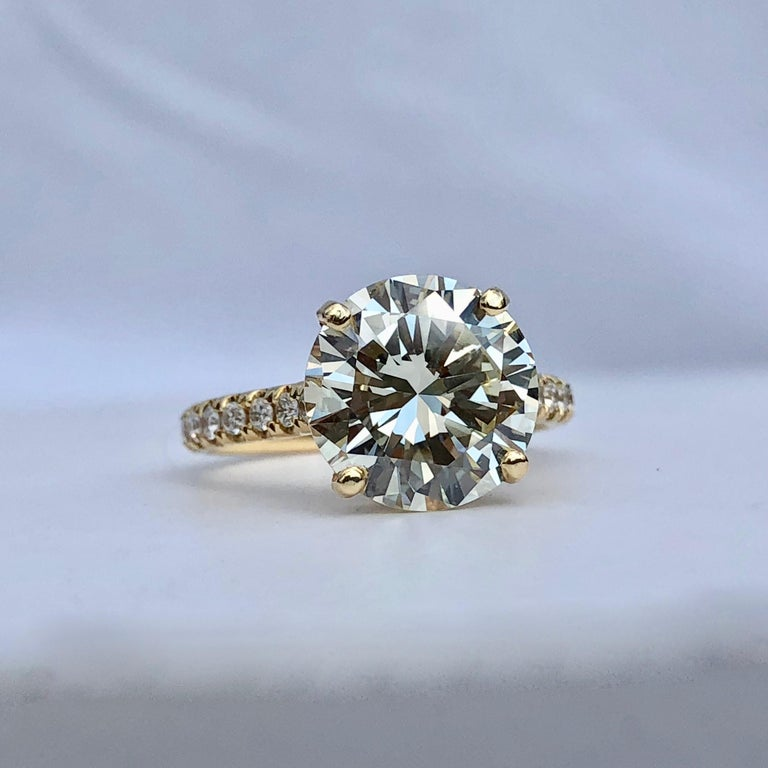 Round Cut Diamond Brilliant Cut Solitaire Diamond Engagement Ring G.I.A M Colour 4.97ct TW For Sale