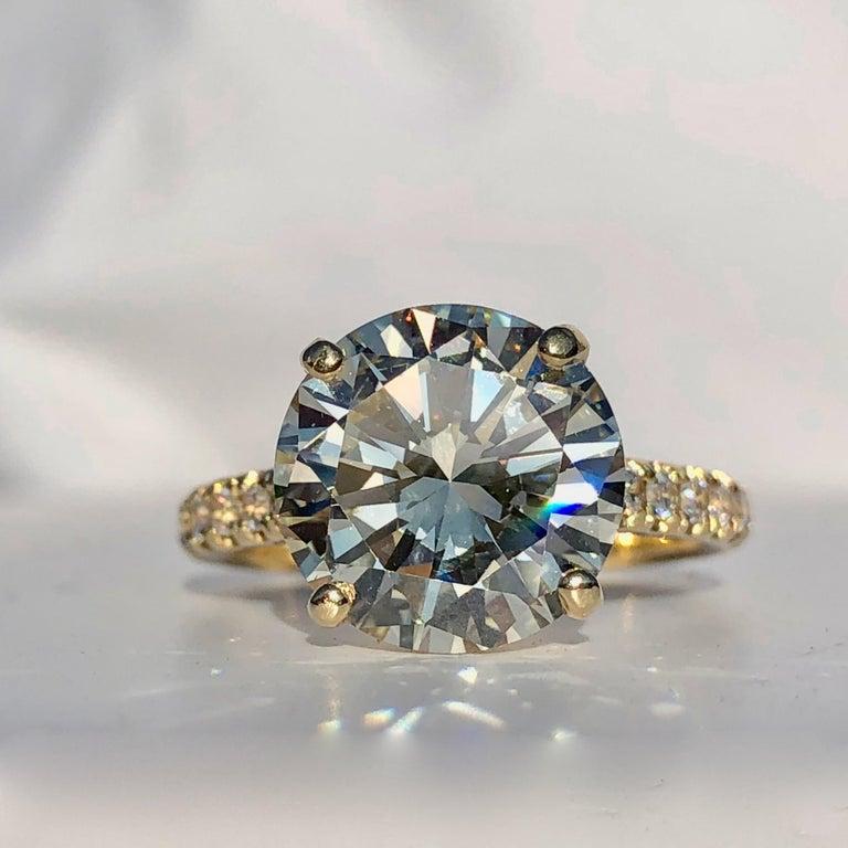 Diamond Brilliant Cut Solitaire Diamond Engagement Ring G.I.A M Colour 4.97ct TW For Sale 2