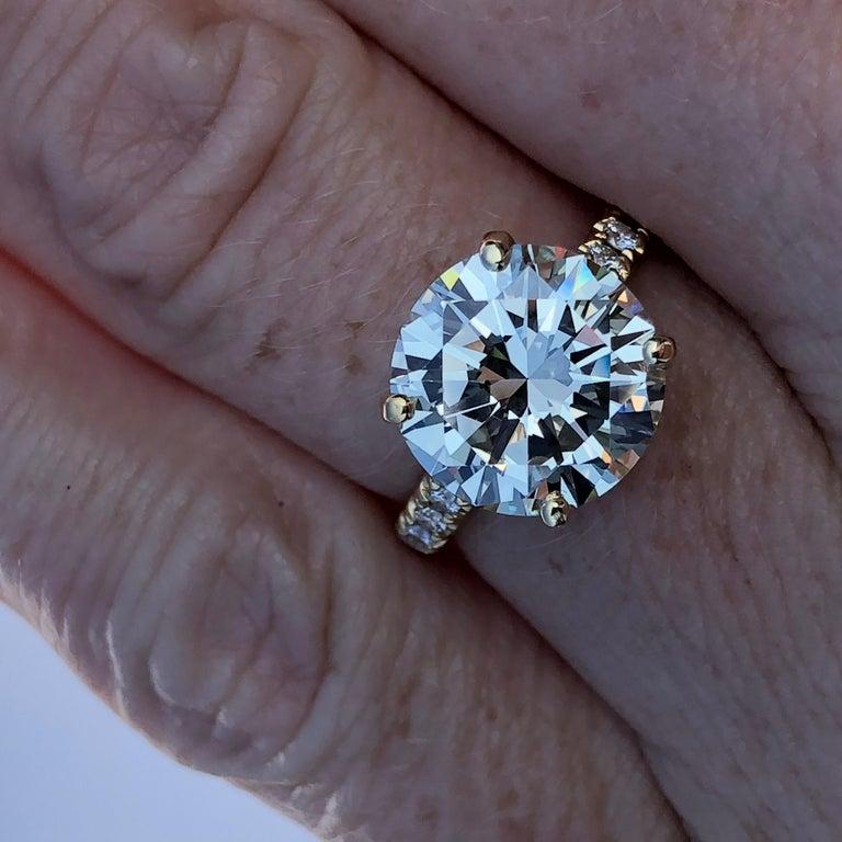 Diamond Brilliant Cut Solitaire Diamond Engagement Ring G.I.A M Colour 4.97ct TW For Sale 3